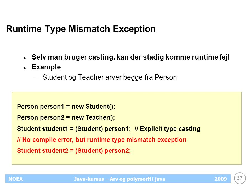 Runtime Type Mismatch Exception