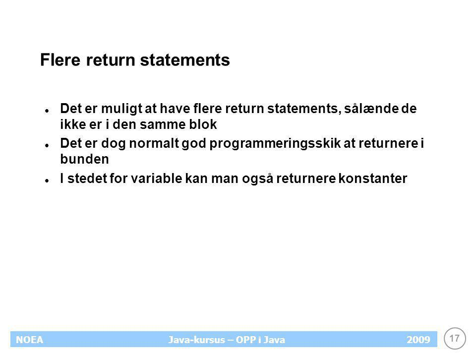 Flere return statements