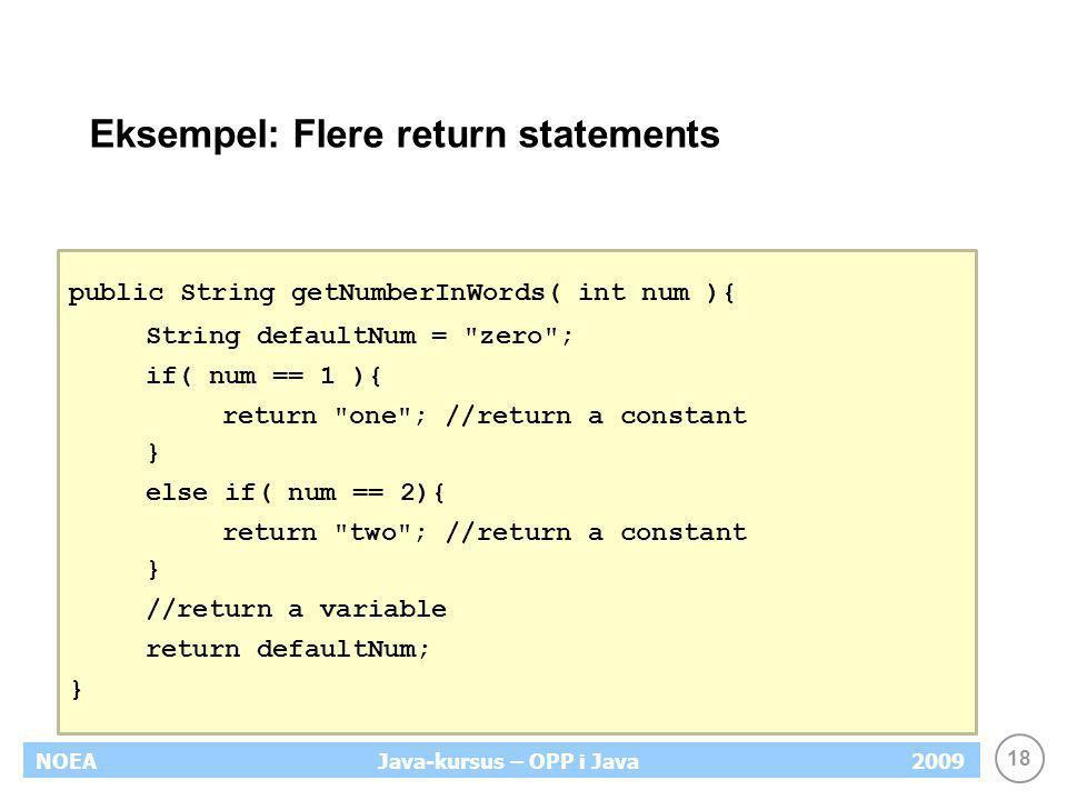 Eksempel: Flere return statements