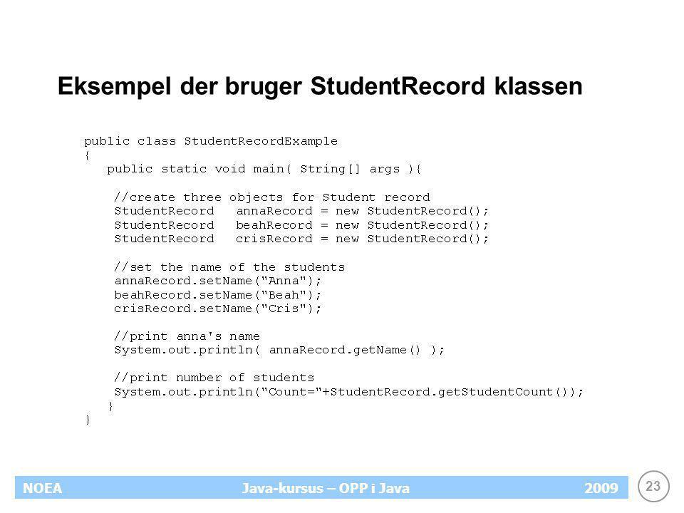 Eksempel der bruger StudentRecord klassen