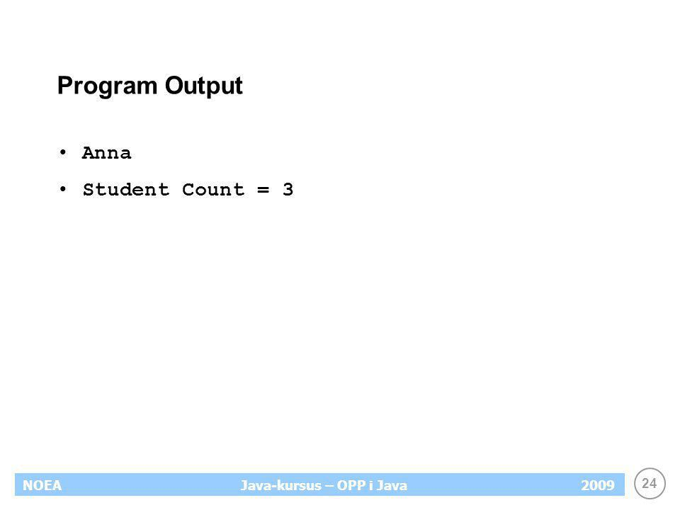 Program Output Anna Student Count = 3