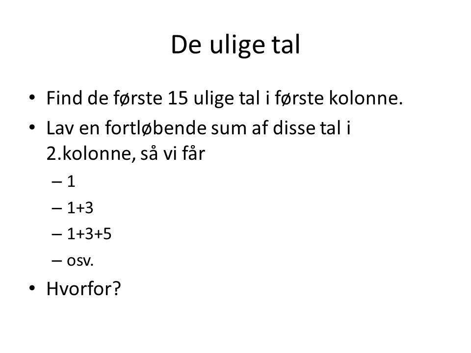 De ulige tal Find de første 15 ulige tal i første kolonne.