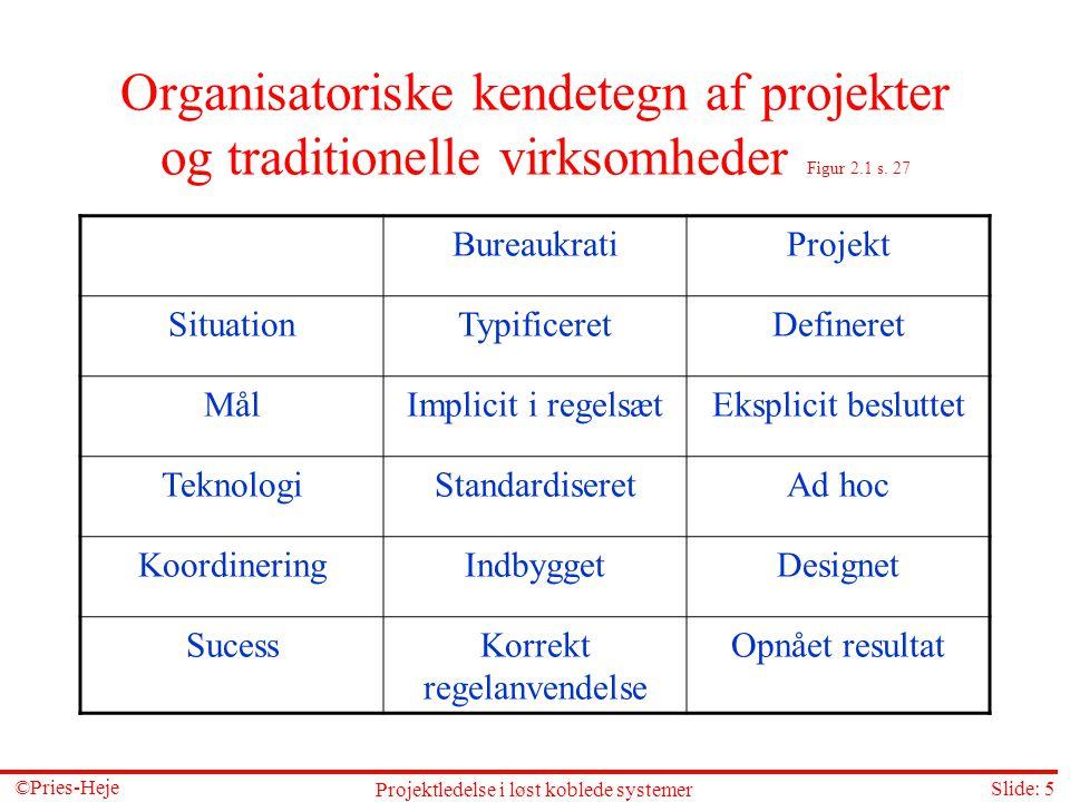 Organisatoriske kendetegn af projekter og traditionelle virksomheder Figur 2.1 s. 27