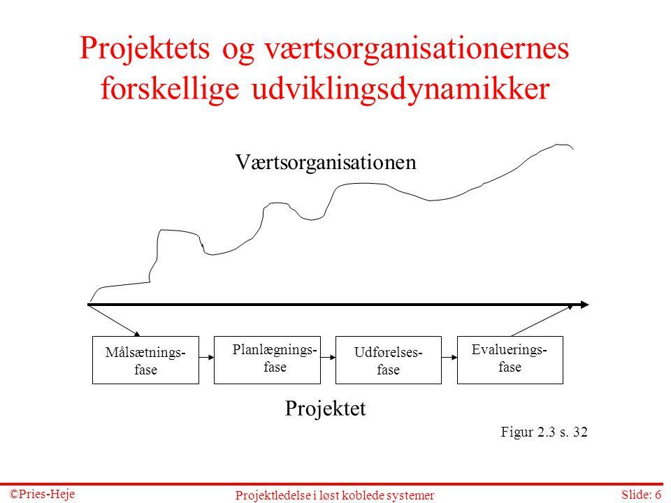 Projektets og værtsorganisationernes forskellige udviklingsdynamikker