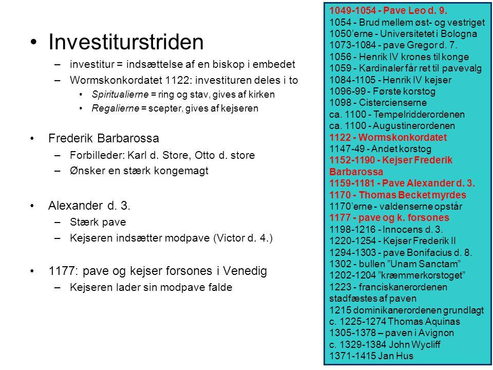 Investiturstriden Frederik Barbarossa Alexander d. 3.