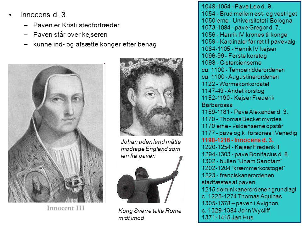 Innocens d. 3. Paven er Kristi stedfortræder Paven står over kejseren