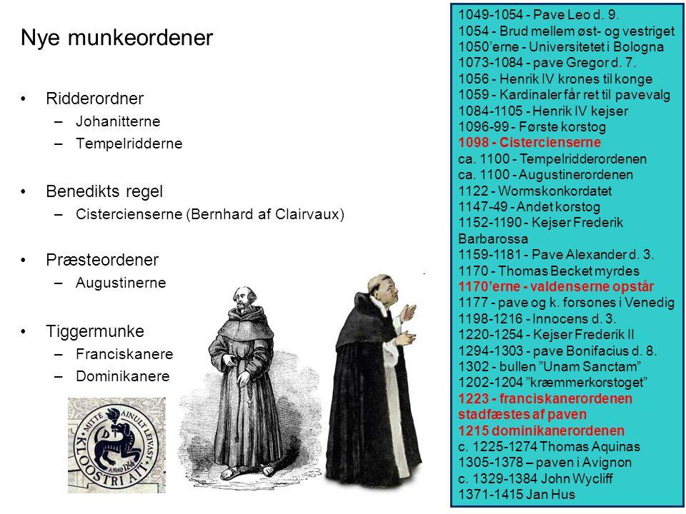Nye munkeordener Ridderordner Benedikts regel Præsteordener