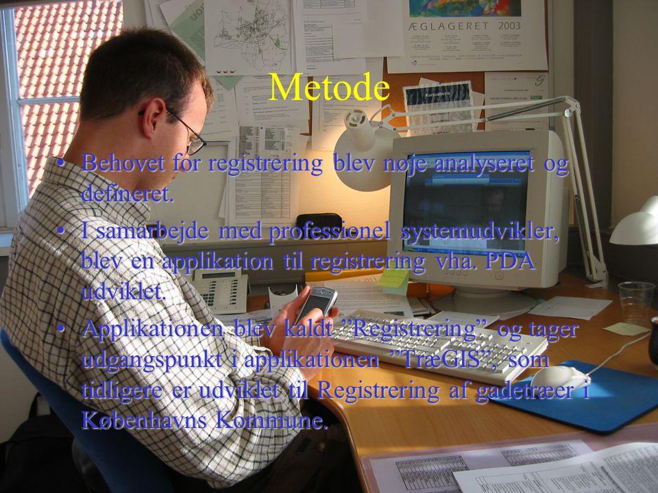 Metode Behovet for registrering blev nøje analyseret og defineret.
