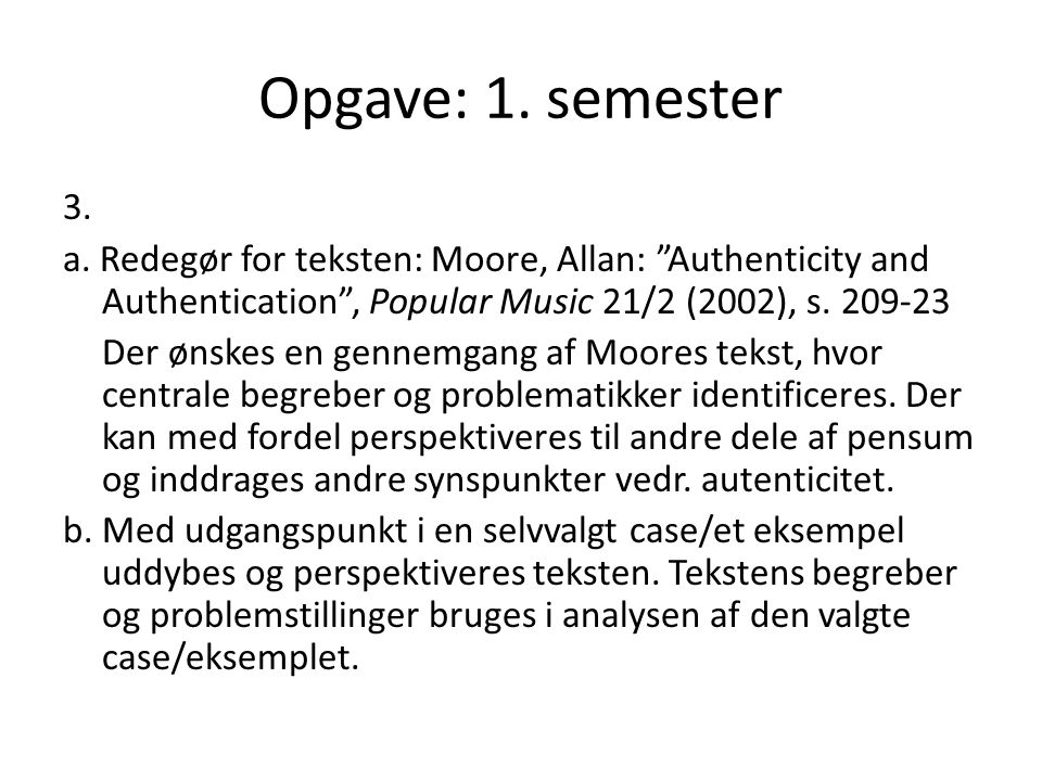 Opgave: 1. semester