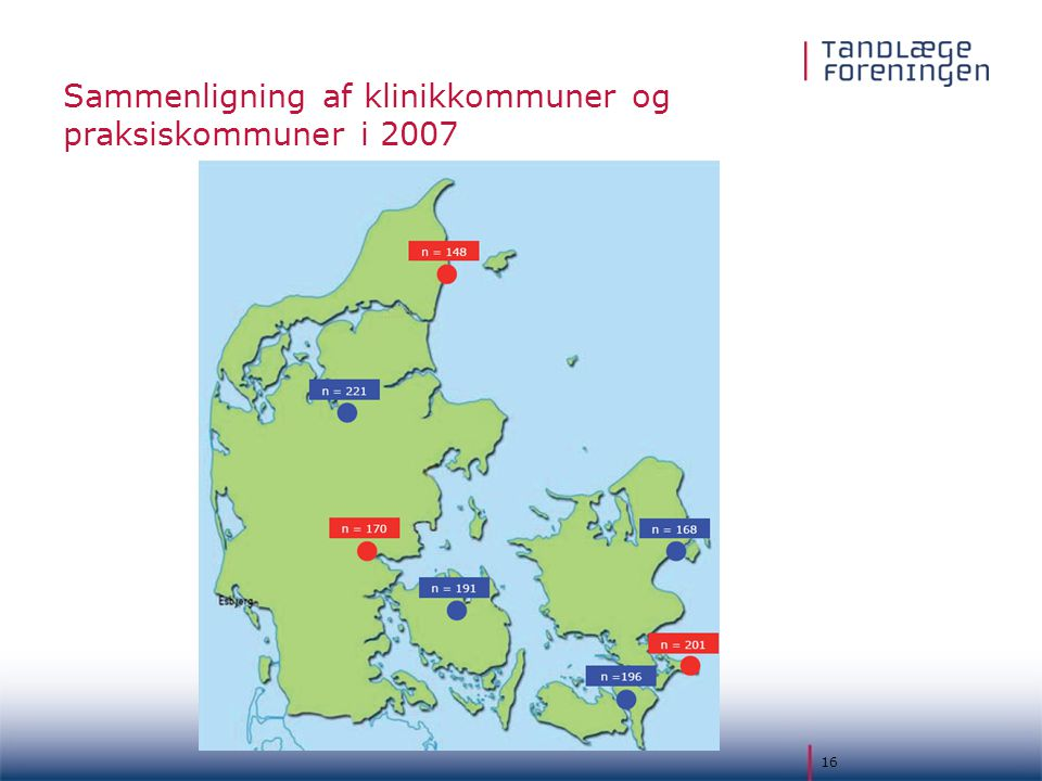 Sammenligning af klinikkommuner og praksiskommuner i 2007