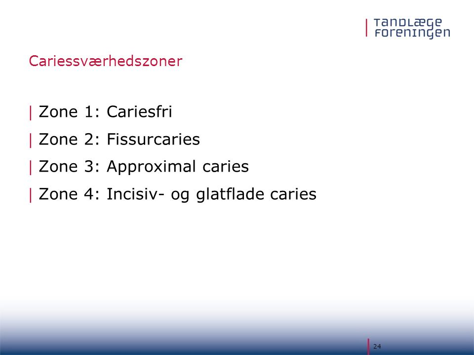 Zone 3: Approximal caries Zone 4: Incisiv- og glatflade caries