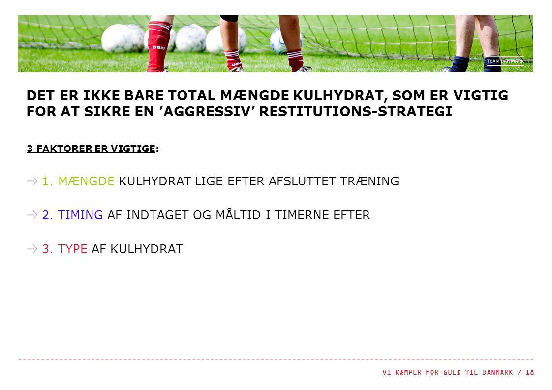 DET ER IKKE BARE TOTAL MÆNGDE KULHYDRAT, SOM ER VIGTIG FOR AT SIKRE EN 'AGGRESSIV' RESTITUTIONS-STRATEGI
