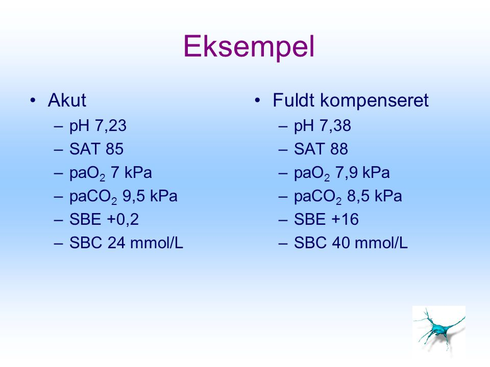Eksempel Akut Fuldt kompenseret pH 7,23 SAT 85 paO2 7 kPa