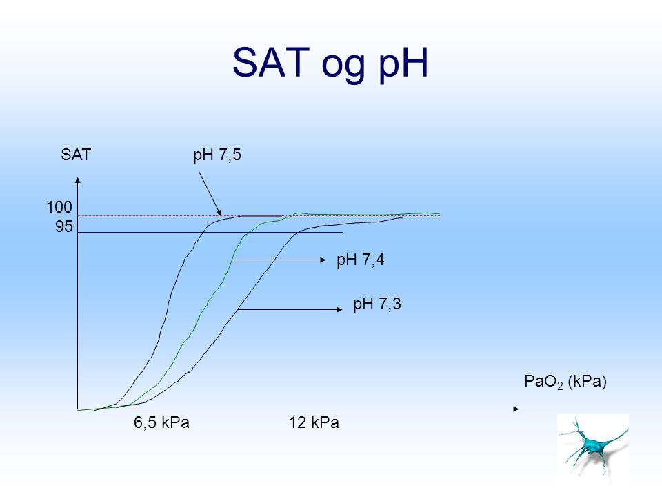 SAT og pH SAT pH 7,5 100 95 pH 7,4 pH 7,3 PaO2 (kPa) 6,5 kPa 12 kPa