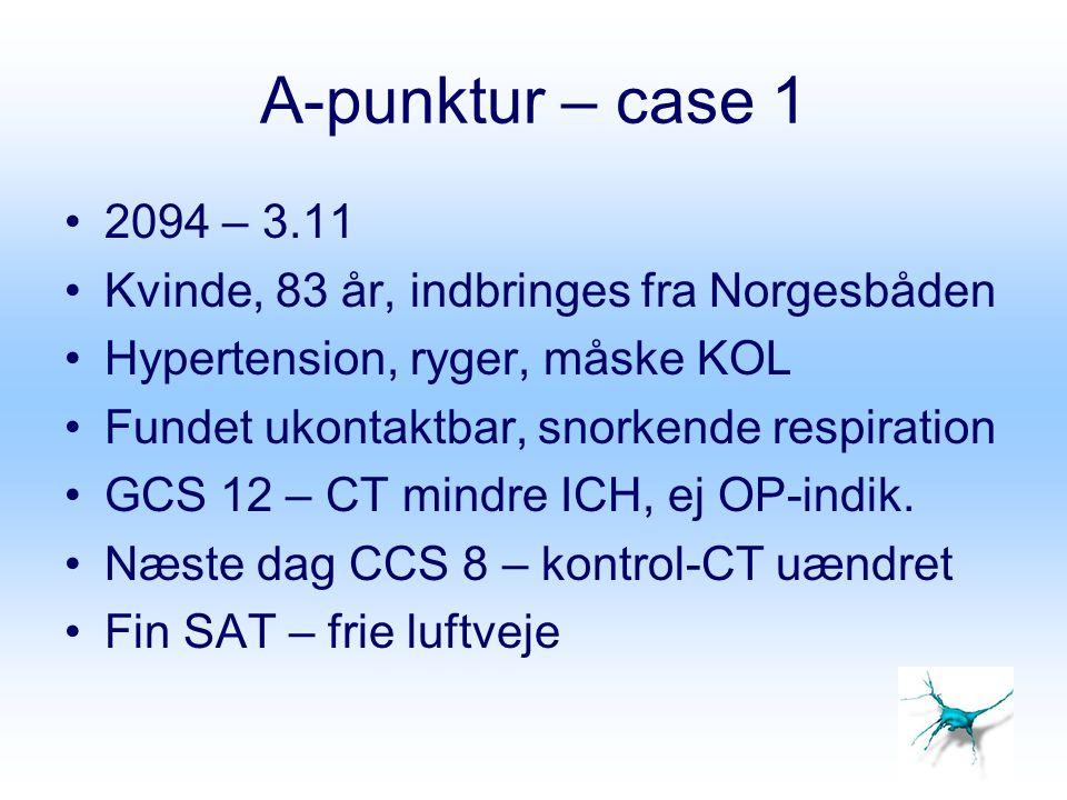 A-punktur – case 1 2094 – 3.11. Kvinde, 83 år, indbringes fra Norgesbåden. Hypertension, ryger, måske KOL.