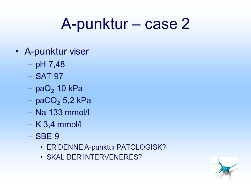A-punktur – case 2 A-punktur viser pH 7,48 SAT 97 paO2 10 kPa