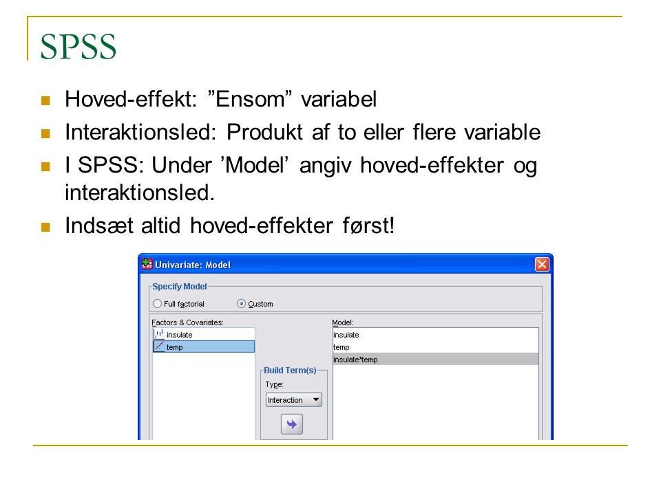 SPSS Hoved-effekt: Ensom variabel