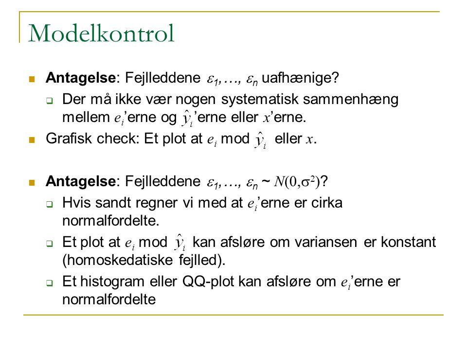 Modelkontrol Antagelse: Fejlleddene e1,…, en uafhænige