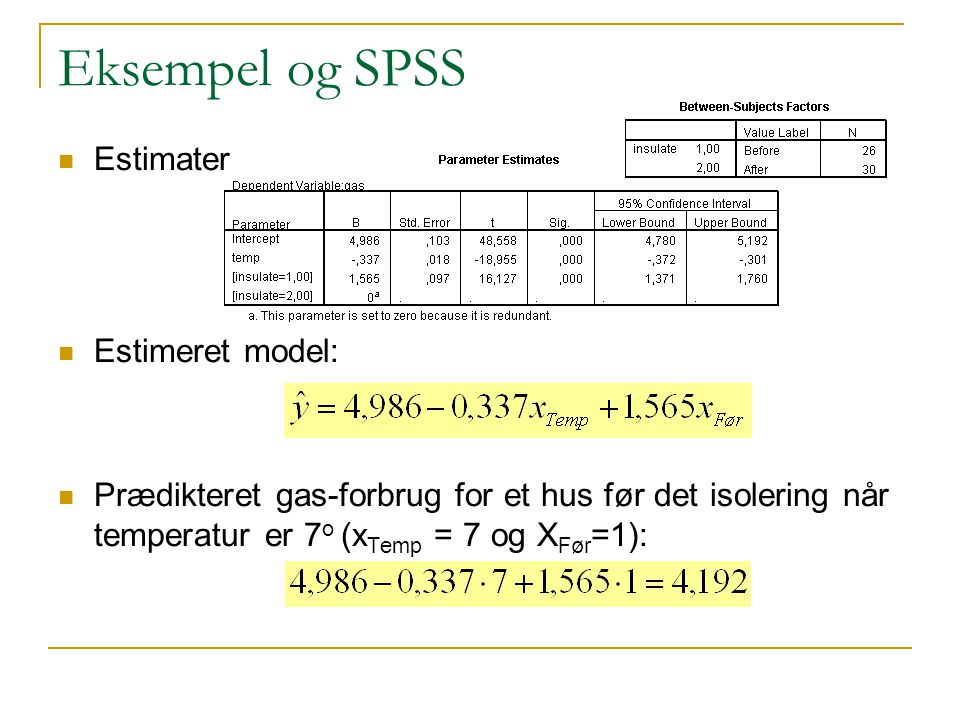 Eksempel og SPSS Estimater Estimeret model:
