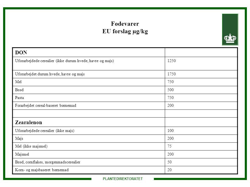 Fødevarer EU forslag µg/kg
