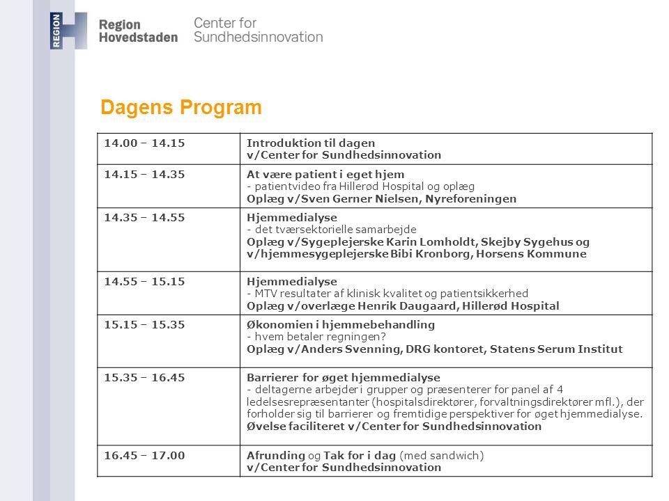 Dagens Program 14.00 – 14.15. Introduktion til dagen v/Center for Sundhedsinnovation. 14.15 – 14.35.