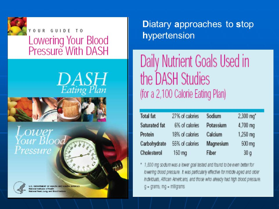 Diatary approaches to stop hypertension