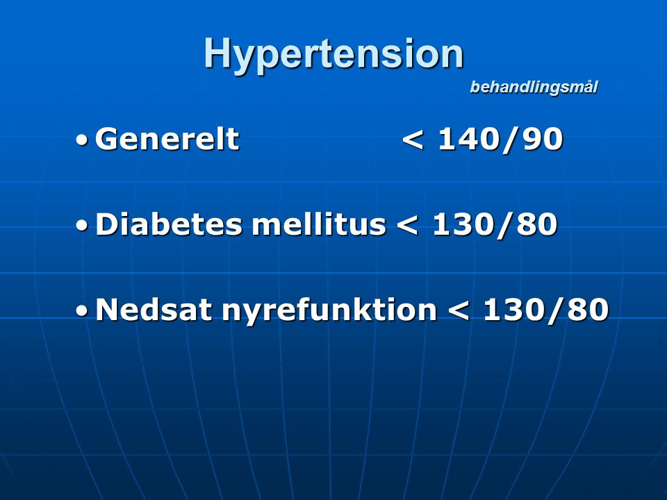Hypertension behandlingsmål