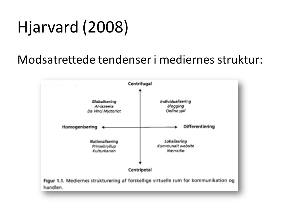 Hjarvard (2008) Modsatrettede tendenser i mediernes struktur: