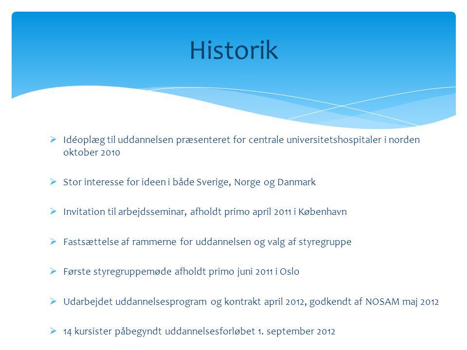 Historik Idéoplæg til uddannelsen præsenteret for centrale universitetshospitaler i norden oktober 2010.