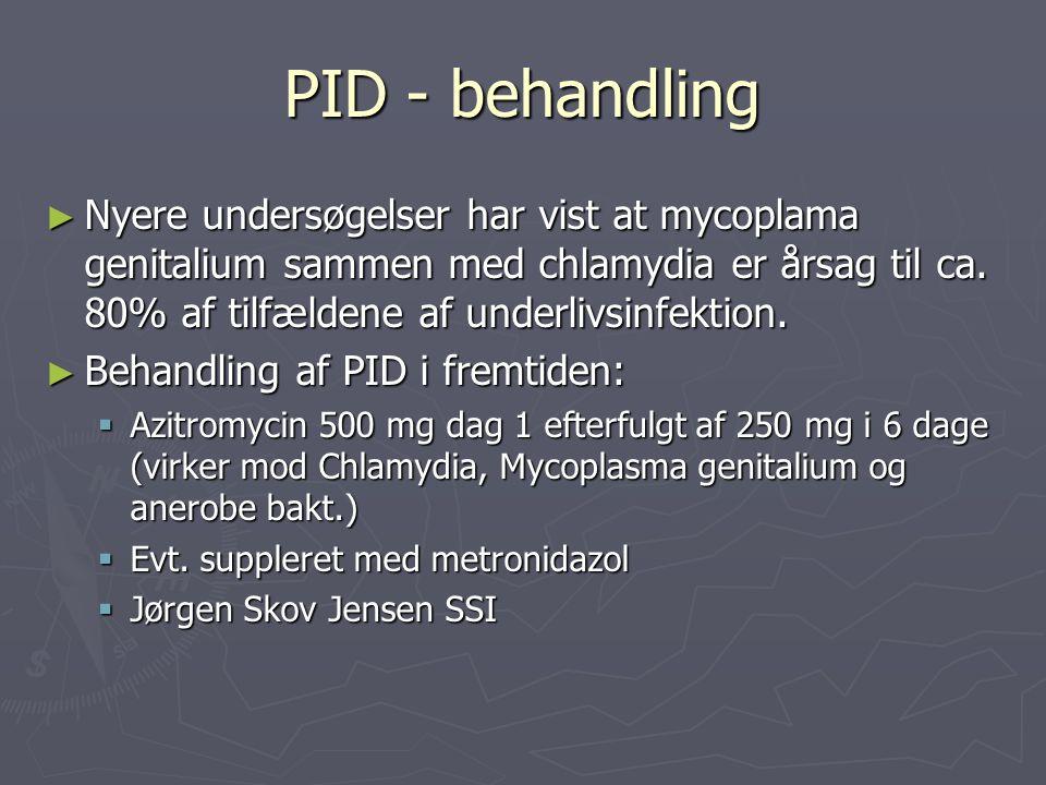 PID - behandling Nyere undersøgelser har vist at mycoplama genitalium sammen med chlamydia er årsag til ca. 80% af tilfældene af underlivsinfektion.