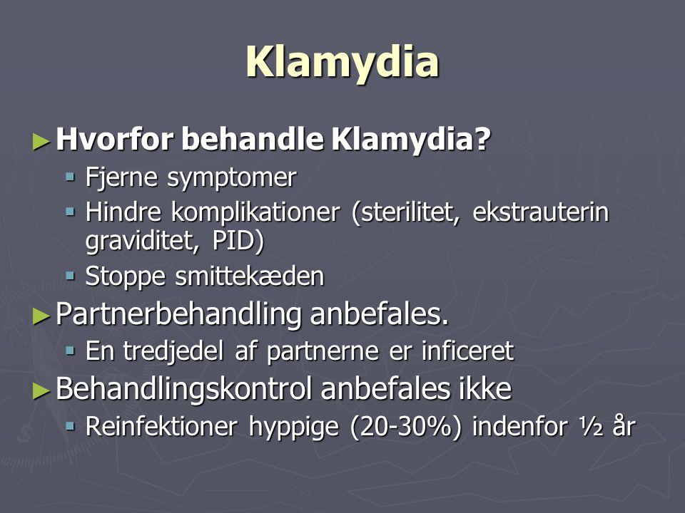 Klamydia Hvorfor behandle Klamydia Partnerbehandling anbefales.