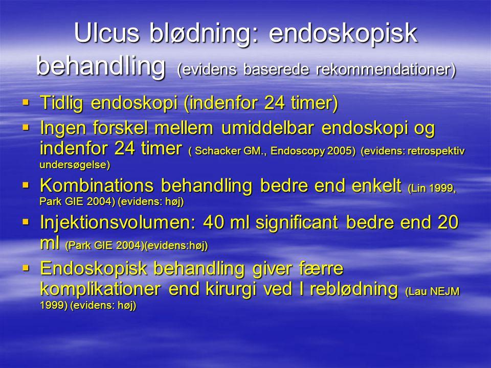 Ulcus blødning: endoskopisk behandling (evidens baserede rekommendationer)