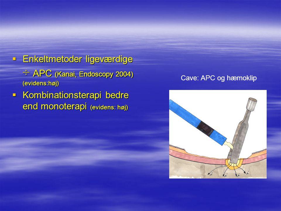 Enkeltmetoder ligeværdige ÷ APC (Kanai, Endoscopy 2004) (evidens:høj)