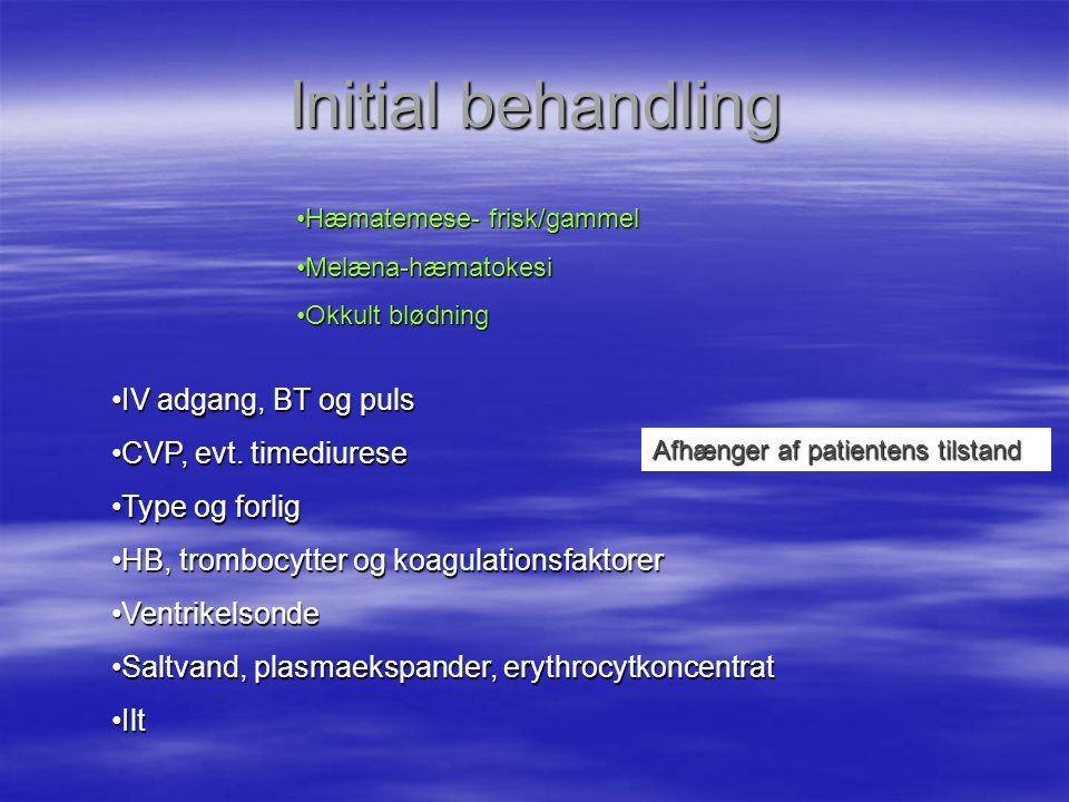 Initial behandling IV adgang, BT og puls CVP, evt. timediurese