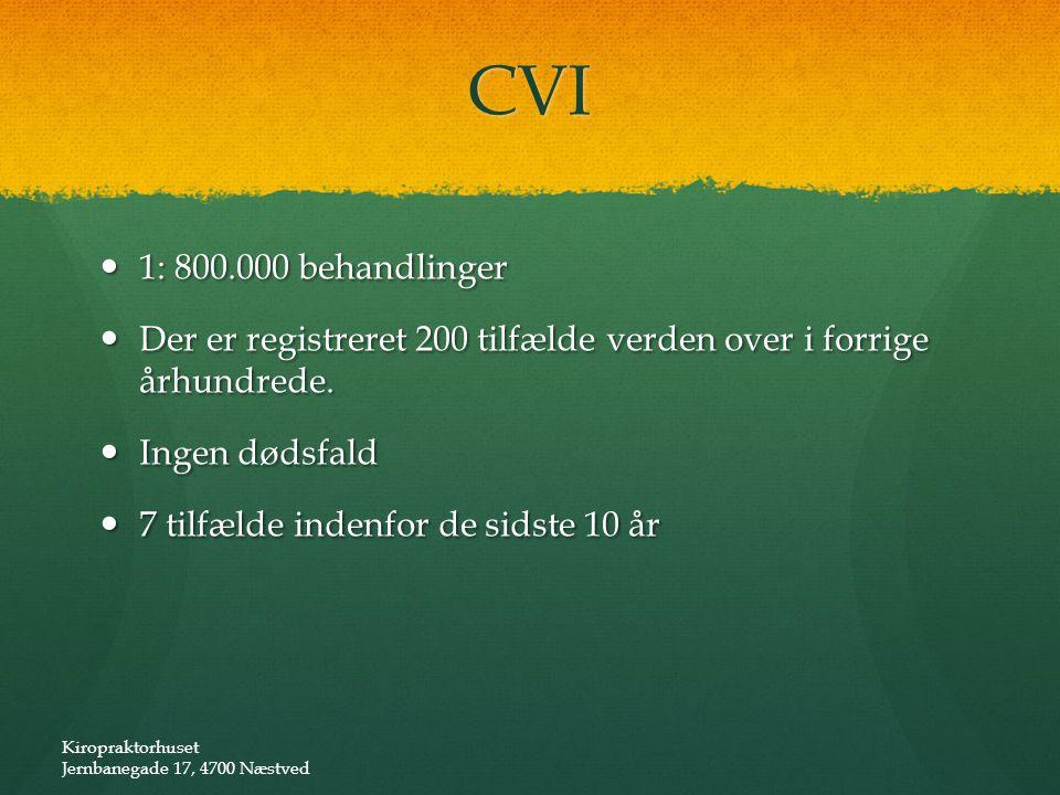 CVI 1: 800.000 behandlinger. Der er registreret 200 tilfælde verden over i forrige århundrede. Ingen dødsfald.