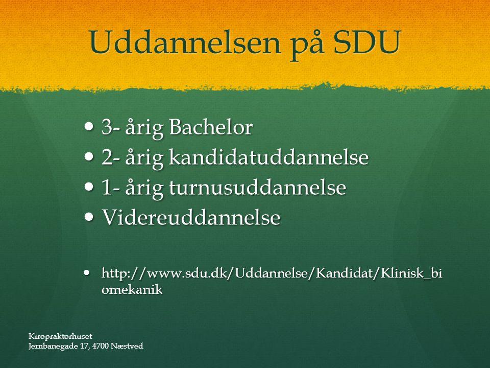 Uddannelsen på SDU 3- årig Bachelor 2- årig kandidatuddannelse
