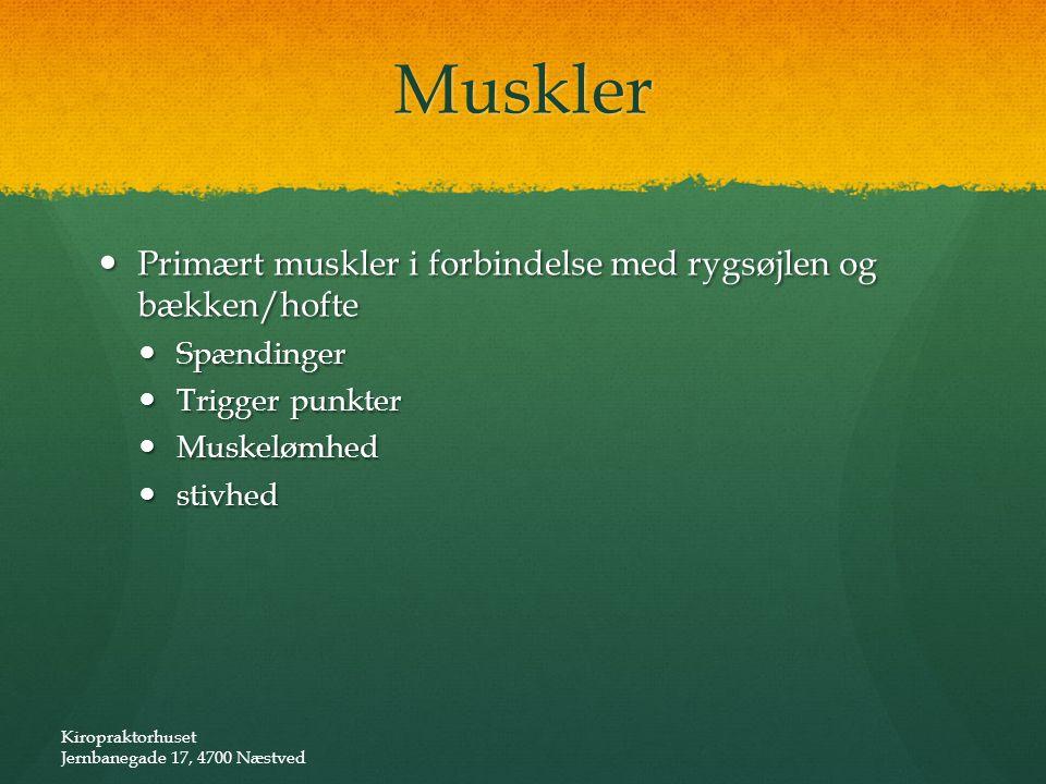Muskler Primært muskler i forbindelse med rygsøjlen og bækken/hofte