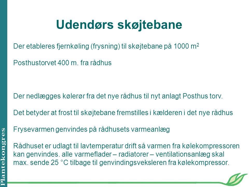 Udendørs skøjtebane Der etableres fjernkøling (frysning) til skøjtebane på 1000 m2. Posthustorvet 400 m. fra rådhus.