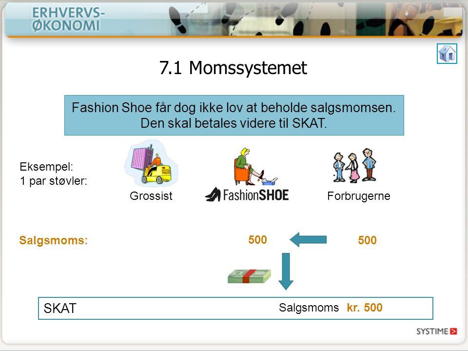 7.1 Momssystemet Fashion Shoe får dog ikke lov at beholde salgsmomsen. Den skal betales videre til SKAT.