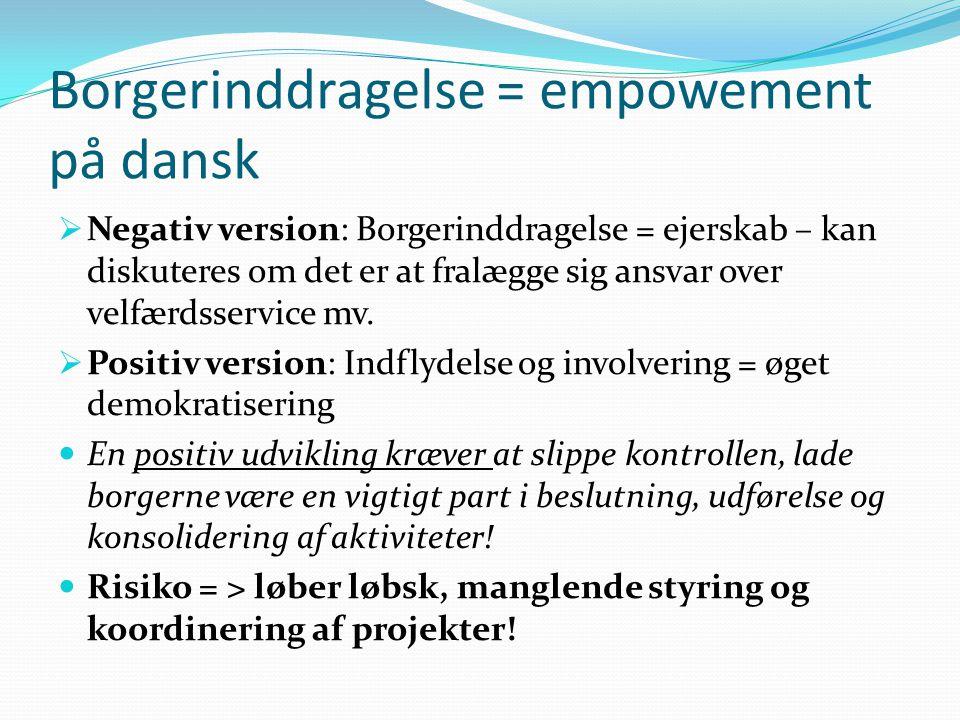 Borgerinddragelse = empowement på dansk