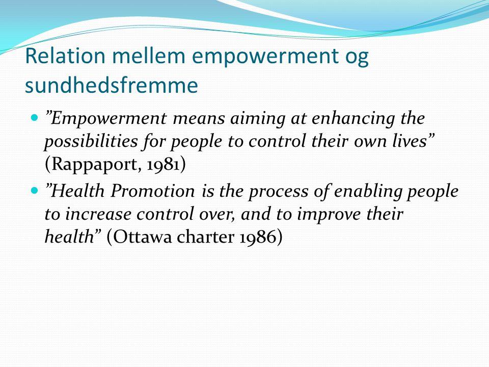 Relation mellem empowerment og sundhedsfremme