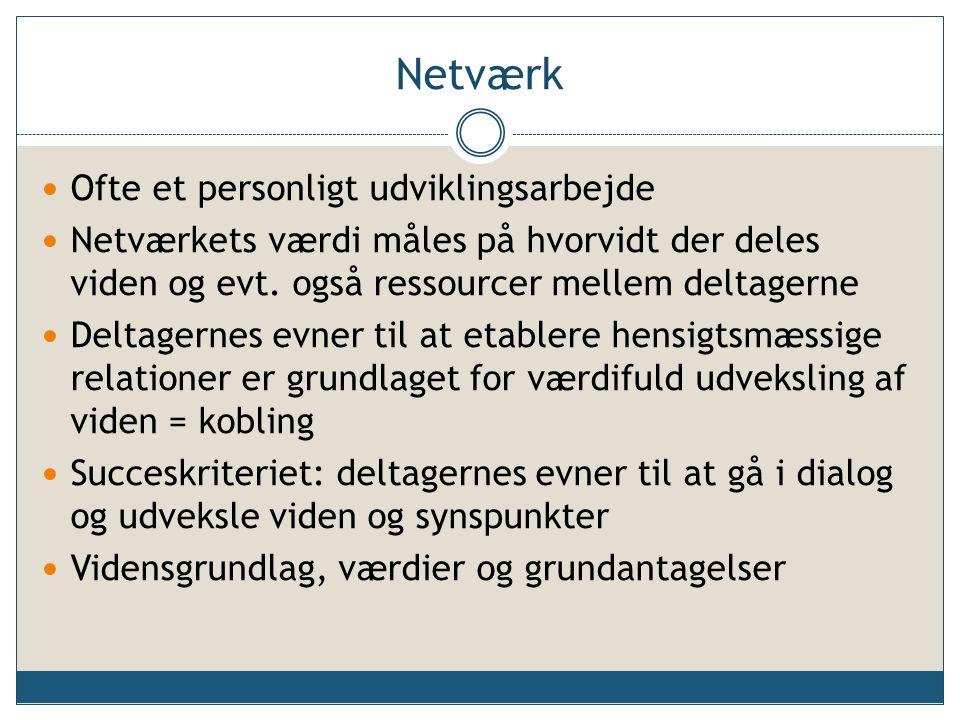 Netværk Ofte et personligt udviklingsarbejde