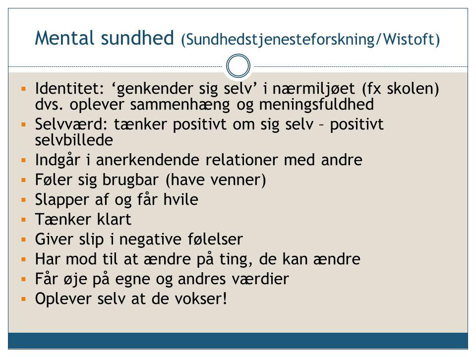 Mental sundhed (Sundhedstjenesteforskning/Wistoft)