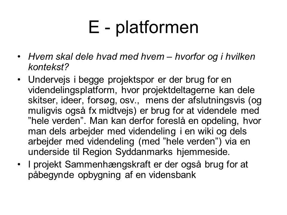 E - platformen Hvem skal dele hvad med hvem – hvorfor og i hvilken kontekst