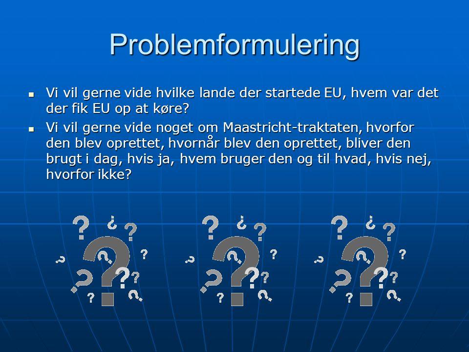 Problemformulering Vi vil gerne vide hvilke lande der startede EU, hvem var det der fik EU op at køre