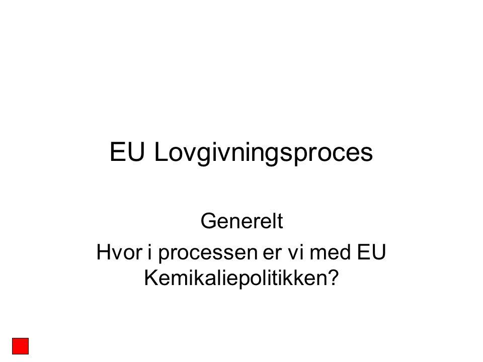 Generelt Hvor i processen er vi med EU Kemikaliepolitikken