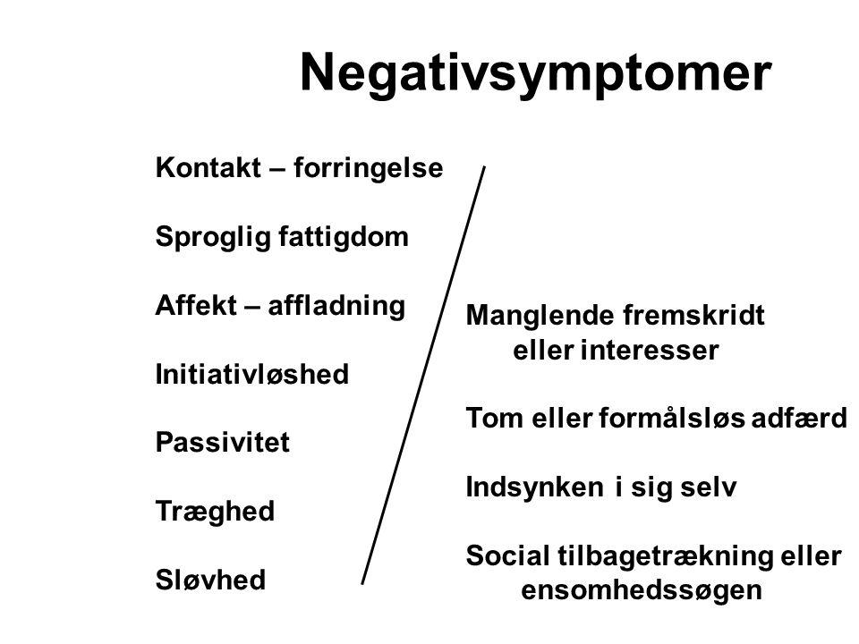 Negativsymptomer Kontakt – forringelse Sproglig fattigdom