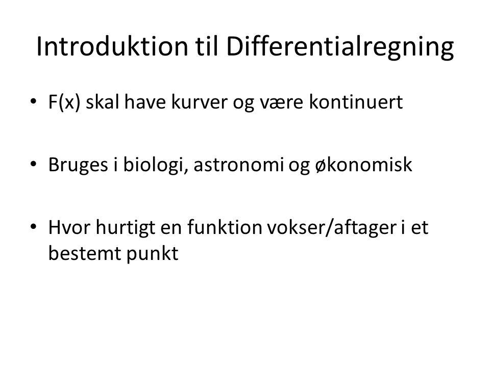 Introduktion til Differentialregning