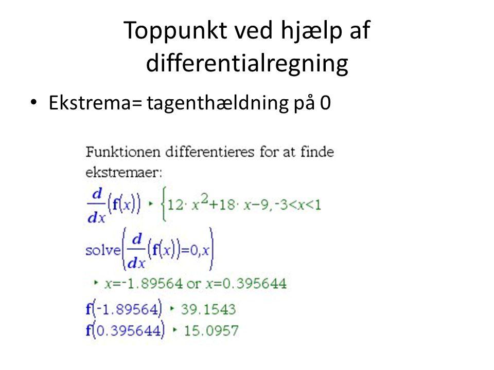 Toppunkt ved hjælp af differentialregning