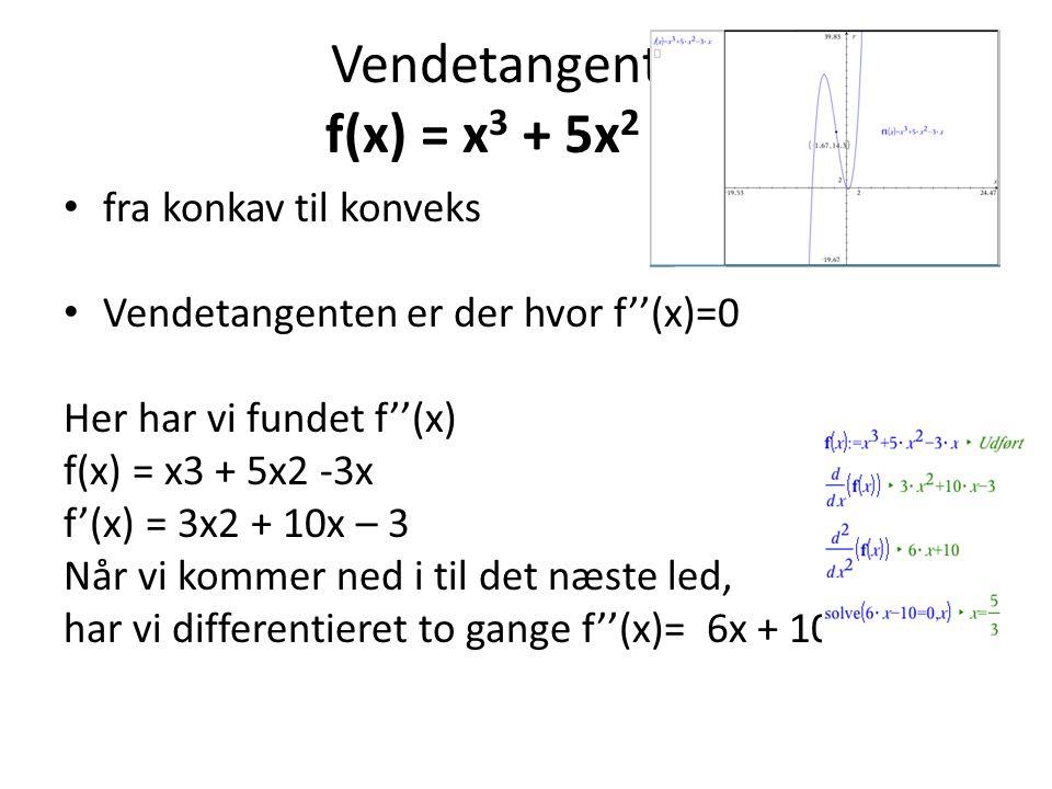 Vendetangent af f(x) = x3 + 5x2 -3x